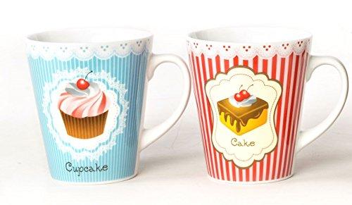 AVENUELAFAYETTE Lot de 2 - Mug Tasse 300ml Cupcake/gâteau en céramique - Vintage rétro (Bleu et Rouge)