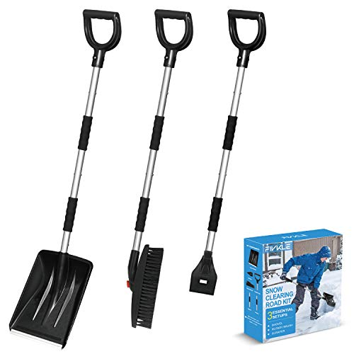3-in-1 Snow Shovel Kit, Snow Shovel + Snow Rotary Brush + Ice Scraper, with Extendable Handle, Portable Detachable Emergency Snow Removal Set for Car, Trucks, Camping, Backyard, Outdoor Activities