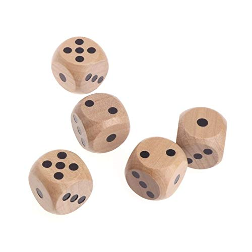 TX GIRL 5pcs 6 Sided Holz Würfel Digitale Würfel Mahjong Party Number Oder Punkt Runde Coener Kid Spielzeug Spiel (Color : 16A)