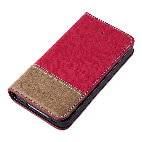 Preisvergleich Produktbild Cadorabo Hülle für Apple iPhone 4 / iPhone 4S - Hülle in ROT BRAUN Handyhülle mit Standfunktion und Kartenfach aus Einer Kunstlederkombi - Case Cover Schutzhülle Etui Tasche Book
