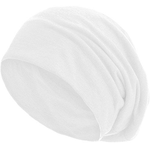 style3 Gorro Slouch Beanie de Fino Tejido de Punto Transpirable y Ligero, Gorro Unisex One Size, Color:Blanco