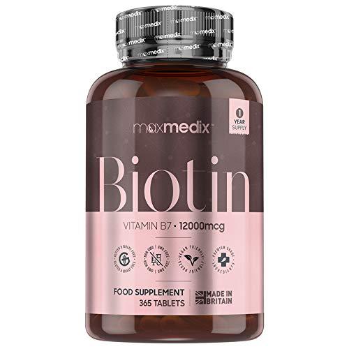 Biotina Natural 12000 mcg Dosis Alta, 365 Comprimidos Veganos - Suplemento Vitamínico Para Crecimiento del Cabello y Uñas, Contribuye al Metabolismo Energético Normal, Suministro para 1 Año