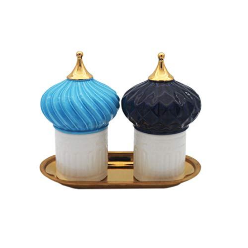 BLOMDE Portavelas De Velas Pequeñas Tarro De Almacenamiento Decorativo Casero De Cerámica del Candelero del Castillo Azul Europeo Almacenamiento De Oro-Traj