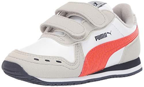 PUMA Baby Cabana Racer Velcro Sneaker, White-Gray Violet-Cherry Tomato-Peacoat, 4 M US Toddler