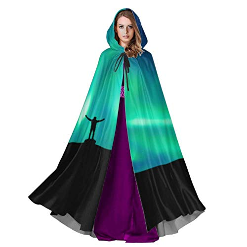 Yushg Espectaculares Capas Verdes de Aurora Boreal para Adultos Disfraz de Capa para Adultos 59 Pulgadas para Navidad Disfraces de Halloween Cosplay