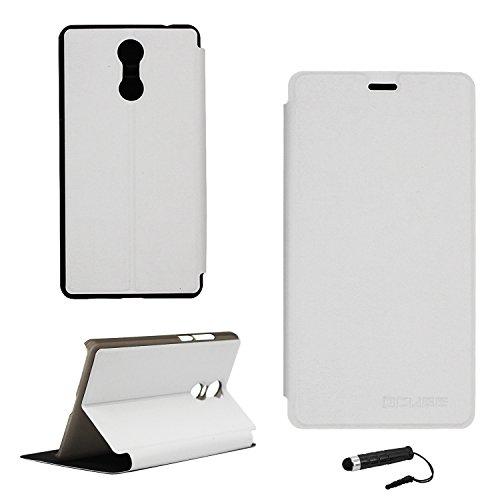 Ycloud Tasche für Bluboo Maya MAX Hülle, PU Ledertasche Metal Smartphone Flip Cover Hülle Handyhülle mit Stand Function Weiß