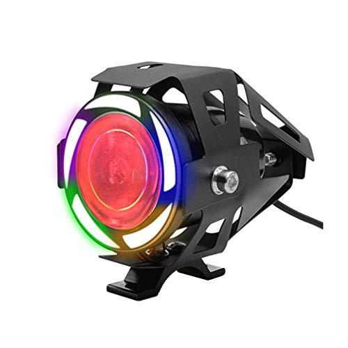 TZTED 1 Stück 125W 3000LM LED Motorrad Nebelscheinwerfer Motorrad Scheinwerfer Nachrüsten wasserdicht Strobe Scheinwerfer Band Farbe LED externes Motorrad vorne Scheinwerfer,Colourful