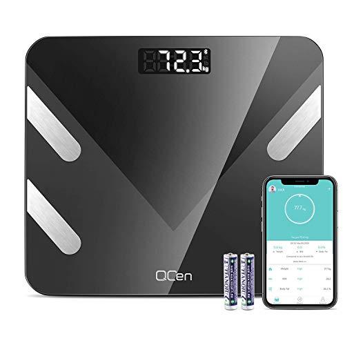 Körperfettwaage Digital Personenwaagen Körperfettwaage Bluetooth Waage für Körperfett mit APP für Gewicht Körperfett Fitness Monitor, BMI, Gewicht, Muskelmasse, Wasser, Protein, BMR, bis 180 kg