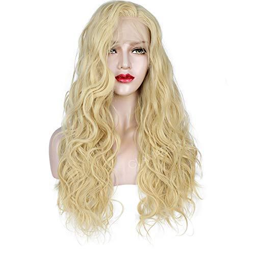 Lange 13 x 4 Lace Front Perücken Blond, GLAMADOR 24'' Lange Golden Natürliche Lockige Perücke, Blonde Spitze Vorne Synthetische Perücken Für Frauen, Gewellte Kostümperücken, Cosplay Perücke mit Kappe