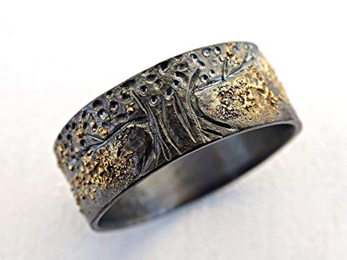 unique viking ring, celtic wedding band, tree of life ring black silver 14k gold, mens wedding ring molten gold and silver, Yggdrasil ring