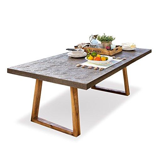 Loberon Tisch Ioan, Akazienholz/Steingemisch, H/B/T ca. 76/200 / 100 cm, grau/braun