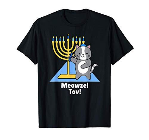 Cute Funny Cat Hanukkah Family Matching Pajamas Meowzel Tov T-Shirt