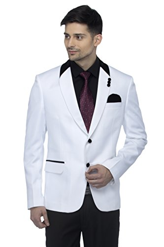 FAVOROSKI Designer Men's Slim Fit Velvet Notch Lapel Collar Single Breasted Blazer, White