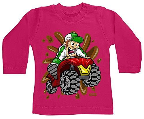 Hariz - Camiseta de manga larga para bebé, diseño de triciclo salvaje, coche y policía, tarjeta de regalo, unicornio, fucsia, 3 – 6 meses