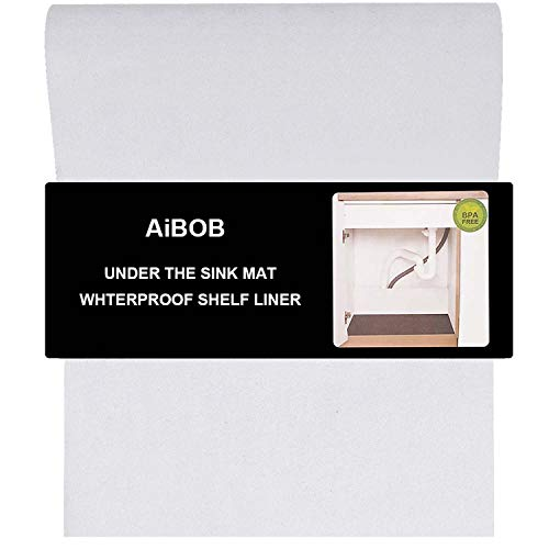 AiBOB Under Sink Mat 24 X 30 Inches Waterproof Shelf Liners for Kitchen and Bathroom Sinks Durable thicker Mats Protects Cabinets White