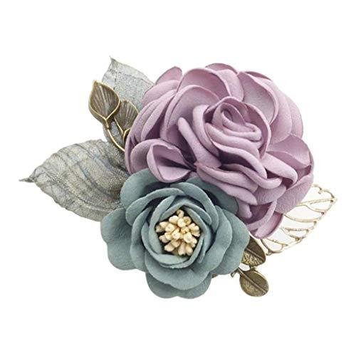 P Prettyia Blumenbrosche, Anstecknadel aus künstlichen Blumen, Pin Anstecker, Hochzeit Cocktailpartys für Braut, Bräutigam, Männer und Frauen - Lila