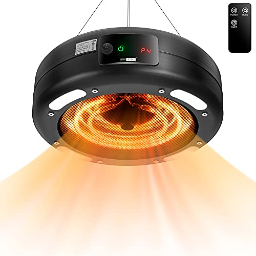 VIVOHOME 2 In 1 Hanging Electric Patio Heater with LED Light, 24H Timer and Remote, Waterproof 1500W Infrared Heater for Courtyard, Garage, Balcony, Gazebo, Garden