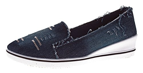 Damen Keil Ballerina Jeans-Optik Leinenschuhe Slipper Halb Schuhe Wedges Stoffschuhe Dunkelblau Gr. 38