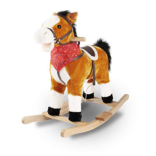 Bigzzia Rocking Horses Wooden Horse Ride on Horse with Music Baby Rocker Educational Toy For Kids