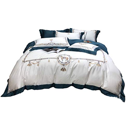 DYXYH Oriental gestickte Baumwolle weiße Bettwäsche Set Queen King Size Hotel Bettwäsche Sets Bettdecke Bettwäsche Set (Color : White, Size : 1.5M)