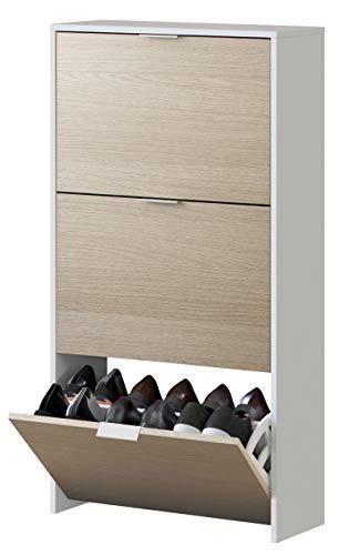 Zapatero Pasillo habitación Dormitorio recibidor Color Blanco y Roble Estrecho Estilo Moderno 113x60x22
