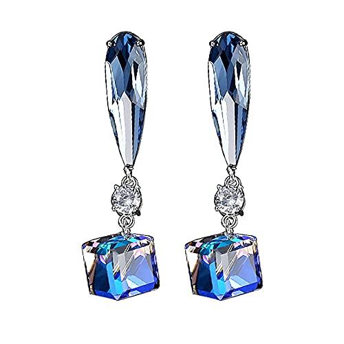 AZPINGPAN Exquisitos Pendientes tridimensionales con Incrustaciones para Mujer, Pendientes de Plata de Ley 925 Pulida en la Parte Posterior, Regalos de joyería Americana