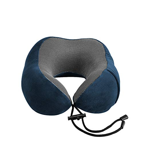 Vokmon Almohada para Cuello en Forma de U Recorrido del Cabezal de Amortiguador del Resto Resto del Cuello del Recorrido el Dormir de Apoyo del utensilio, Azul Marino, Almohada, Almacenamiento