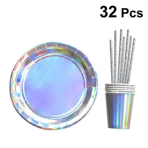 Amosfun 32 Stks Papieren Party Flatware Set Holografische Cup Platen Straw Eco-vriendelijke Wegwerp Party Dinnerware Kit Party benodigdheden voor Bruiloft Verjaardag Banket