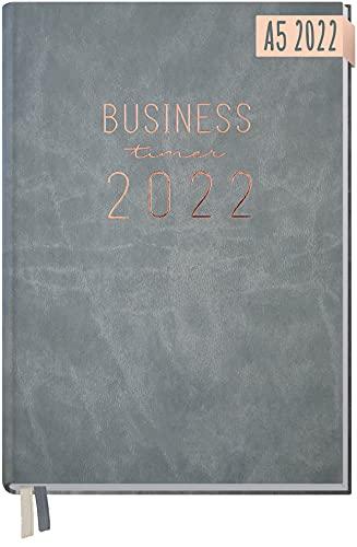 Chäff Business-Timer 2022 A5 [Grau-Rosé] 1 Woche 2 Seiten | Terminplaner, Wochenplaner, Wochenkalender, Organizer, Terminkalender für perfektes Zeitmanagement | nachhaltig & klimaneutral