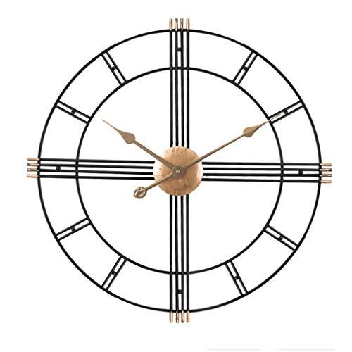 Reloj De Pared Marco redondo de metal reloj de pared de silencio hueco 3D no tictac Escala de estar Oficina Sala de Uso FashionGreat for salones, cocinas, bares, cafeterías, lofts Decoración Hogareña