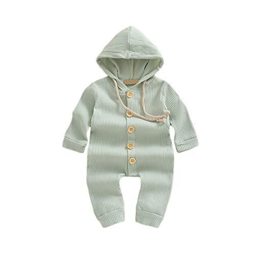 Hongyuangl Baby Mädchen Junge mit Kapuze Overall Langarm Einteiler Playwear Strick Baumwolle Overall Hosen Strickwaren 0-18 Monate