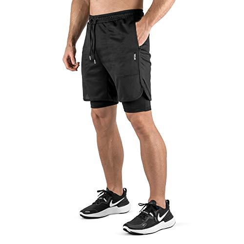 Sixlab Hybrid Shorts + Leggings Herren 2 in 1 Set Fitness Gym Running Hose (Schwarz/Schwarz, M)