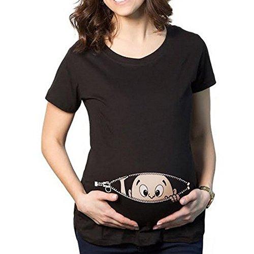 Q.KIM Camiseta de Maternidad Elasticidad Suave Embarazada Camiseta Premamá T-Shirt bebé Divertido Estampado - para Mujer