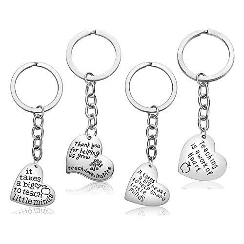 Teacher Appreciation Gifts for Women, 4PCS Heart Pendant Keychain Jewelry Set, Thank You Gift Graduation Gift for Teachers