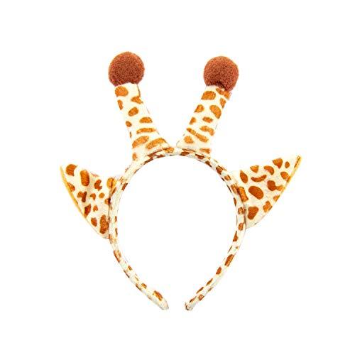 Oblique Unique® Haarreifen Giraffe Haarreif mit Giraffenohren und Giraffenhörnern Kostüm Accessoire für Fasching Karneval Motto Themen Party Einheitsgröße