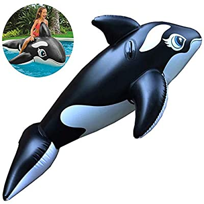 Chen Summer Inflatable Black Whale Floating Row Toys with Handle, Swimming Rafts Two-Meter Big Whale Ride-ons for Pool Party Water Sports Games Surfing at Sea