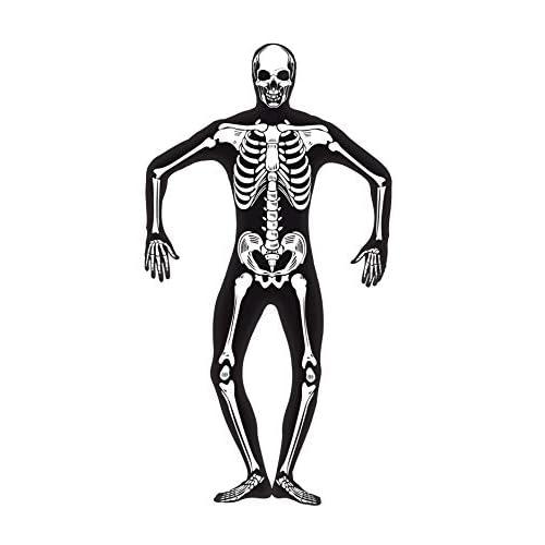 Costume Carnevale Halloween Adulto Seconda Pelle Scheletro Fluo smiffys *18577-M