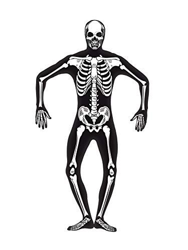 """Smiffys-24618M Halloween Disfraz de Esqueleto Segunda Piel, con Cremallera escondida y Apertura bajo la b, Color Negro, M-Tamaño 38""""-40"""" (Smiffy'S 24618M)"""