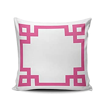 Hoooottle Custom Pretty Cute White Hot Pink Greek Key Euro Square Pillowcase Zippered One Side Printed 26x26 Inches Throw Pillow Case Cushion Cover