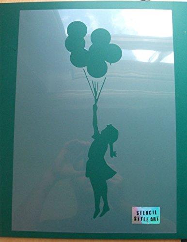 Banksy-Schablone mit Mädchen mit fliegenden Luftballons – ideale Schablonen, Kunststoff, MEDIUM - 4 x 14.5 inches