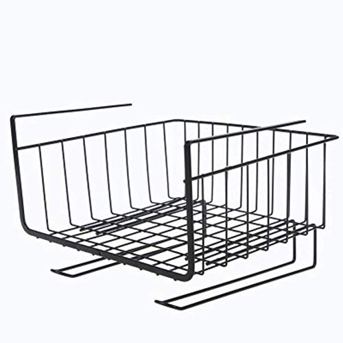 Bajo estantes cesta de estantería, bajo almacenamiento de tablas estante, artículos for el hogar simple Bajo estantes de ahorro de espacio de diseño de metal se desliza fácilmente 10x7x10inch-Blanco (