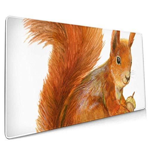 Langes Mousepad (35,5 x 15,8 Zoll) Eichhörnchen-Eichel auf weißem Schreibtisch Pad Tastaturmatte, rutschfeste Basis, wasserdicht, für Arbeit & Spiele, Büro & Zuhause