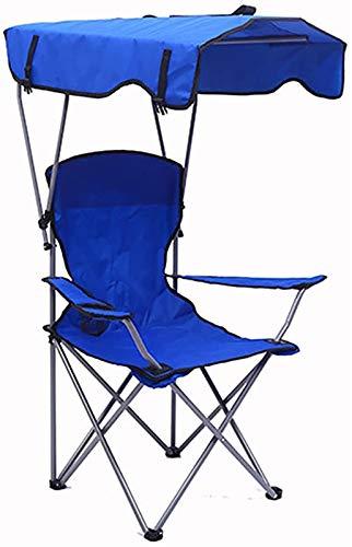 TXXM Silla de salón al aire libre para playa, silla deportiva plegable con bolsa de transporte, silla portátil resistente, silla de camping con toldo rojo, azul