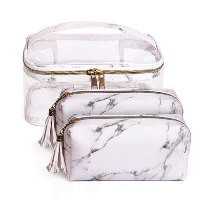 PPuujia PVC Transparente Cosmetic Bag Organizer Tocatán de Viaje Bolso Set Pink Beauty Case Maquillaje Estuche Beetician Vanity Necessire Viaje (Color : 3Pcs C4)