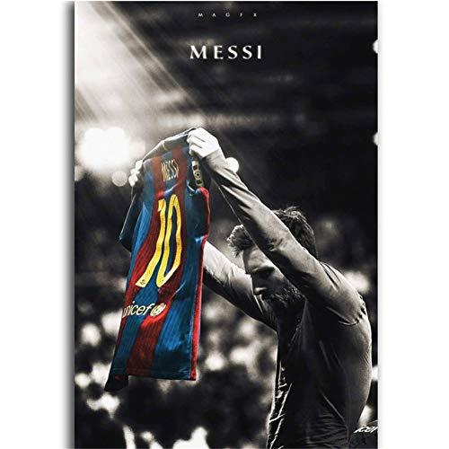 Lionel Messi Football Soccer Super Classic Artwork Poster de pared Decoración de arte Decoración brillante Regalos Imprimir en lienzo -50x70cm Sin marco