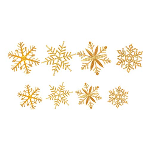 MILISTEN 8Pcs Glitzern Goldene Schneeflocken Patches Eisen auf Patch Gestickt Nähen auf Patches Applikation für Kleiderjacken T-Shirt Rucksack