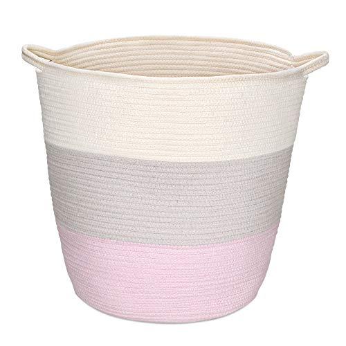 Navaris Cesta de Almacenamiento de Cuerda de algodón - Cesto Grande con asa para Colada organización decoración Juguetes - Blanco marrón y Rosa