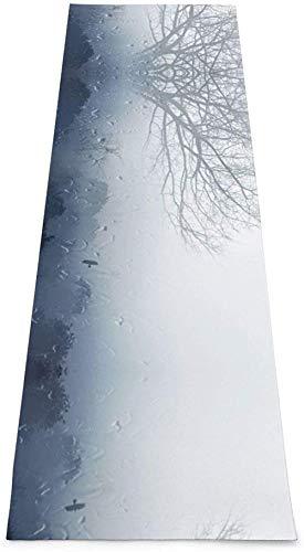 Toalla De Yoga Antideslizante,Gotas De Lluvia Foggy Ventana Árbol De Agua Impresión Eco-Friendly Fitness Exercise Mat,Alfombras De Meditación,Ejercicios De Piso Impreso &Pilato Fitness Mat Para Mu