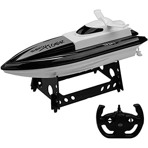 YDHNB RC Barca da Regata ad Alta velocità 30 KM/H 2,4 GHz Controller Barca Radiocomandata Motoscafo Giocattolo per Bambini/Adulti,Nero