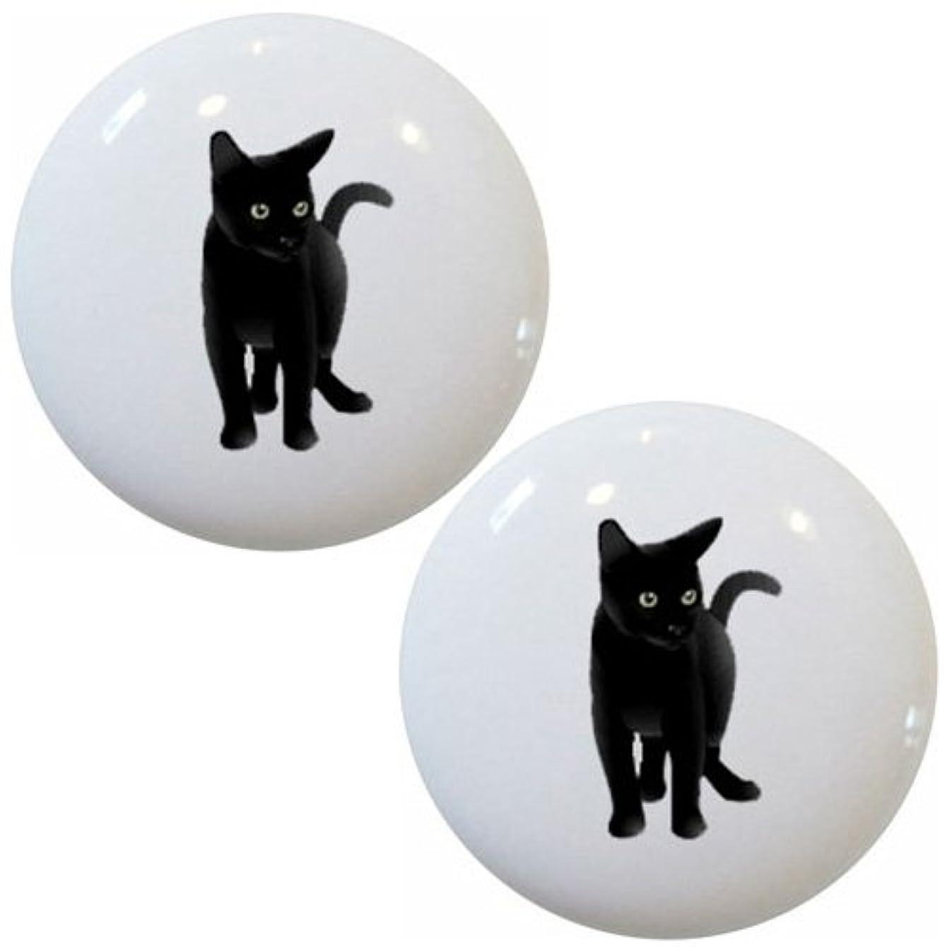 Set of 2 Black Cat Ceramic Cabinet Drawer Pull Knobs